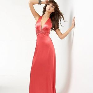 BCBGMAXAZRIA Raspberry Cross Back Long Sexy Gown